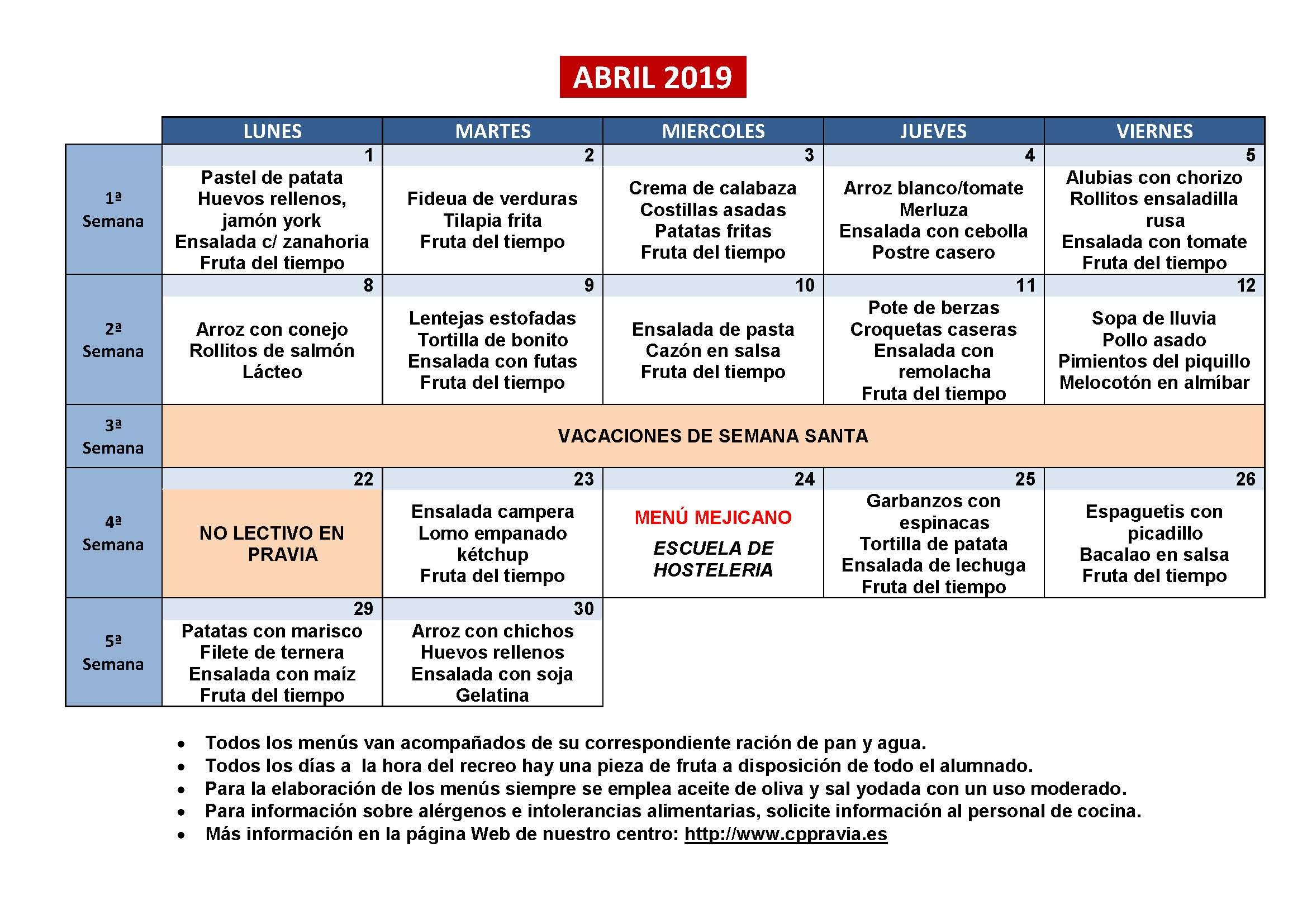 Colegio Público Sta. Eulalia de Mérida :: Menús Comedor